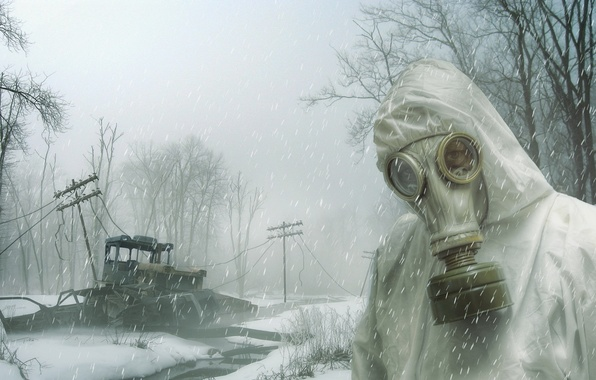 Picture snow, people, gas mask, Long Winter