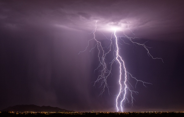Picture the storm, night, the city, lights, lightning, arizona, casa grande