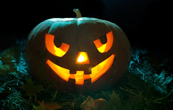 Picture leaves, night, candles, grin, pumpkin, Halloween, halloween