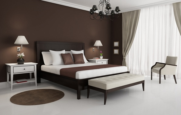 Picture white, design, style, lamp, bed, interior, chair, Mat, brown, table, bedroom, chandeliers