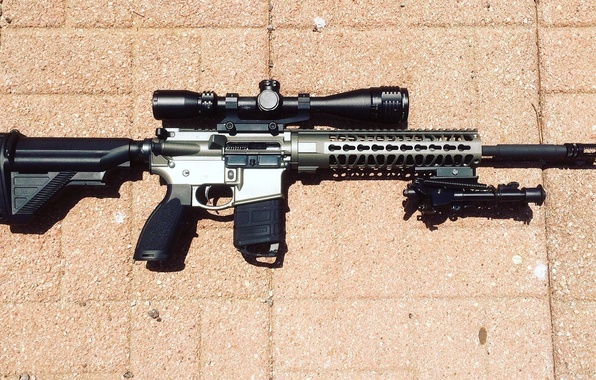 Picture weapons, optics, carabiner, automatic rifle