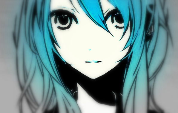 Picture eyes, girl, face, shadow, vocaloid, hatsune miku, long hair, Vocaloid, blue hair, art, Hatsune Miku, ...