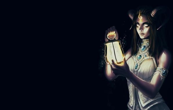 Picture look, light, background, fiction, darkness, hair, dress, art, lantern, horns, demoness