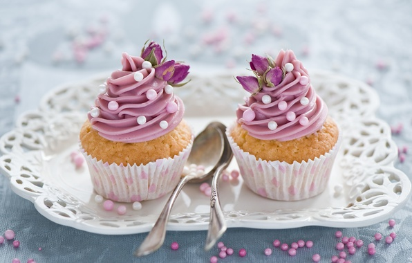 Picture flowers, pink, sweets, decoration, cream, dessert, cakes, sweet, cupcakes, spoon, Anna Verdina