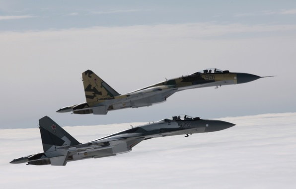 Picture The sky, Clouds, The plane, Flight, Fighter, Height, Su-35