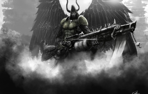 Picture weapons, wings, art, hood, horns, male, flamethrower, angel of death