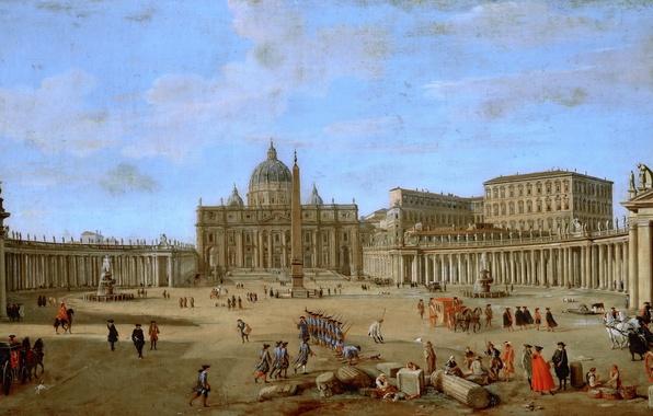 Picture landscape, the city, people, picture, area, Rome, The Vatican, Gaspar van Wittel, Saint Peter's Basilica …