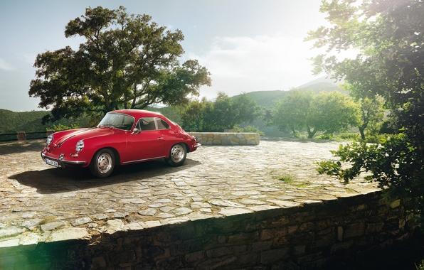 Picture the sky, trees, coupe, Porsche, Porsche, classic, Coupe, the front, 1963, 1600, 356C