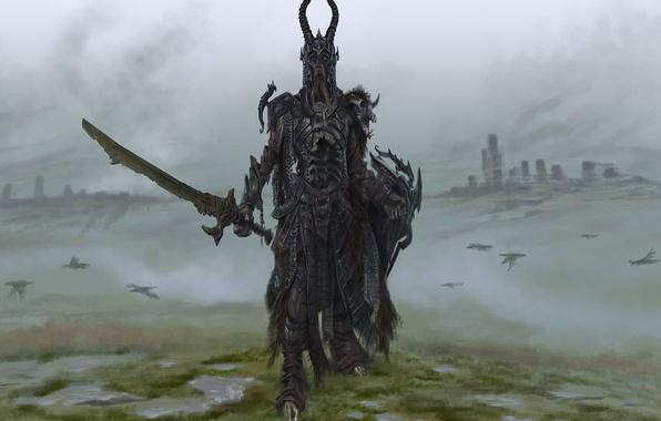 Picture game, sword, art, sword, shield, games, art, armor, skyrim, Skyrim, Draugr Death Lord, draug