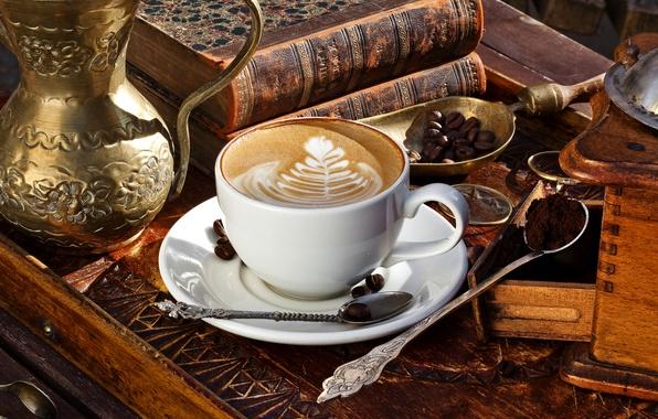 Picture foam, pattern, books, coffee, grain, Cup, drink, cappuccino, saucer, locker, blade, spoon, ground, latte art