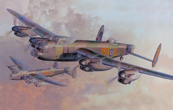 Picture Figure, Bomber, Heavy, Lancaster B, Avro Aircraft. Typ 683, Four-engine, British, Mk. 1, Royal Air …