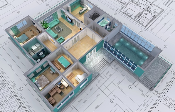 Picture design, architecture, drawings, housing