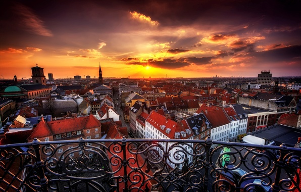 Picture sunset, the city, building, home, the evening, Denmark, panorama, Copenhagen, Copenhagen, Danmark, Copenhagen