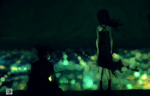 Picture girl, lights, green, guy