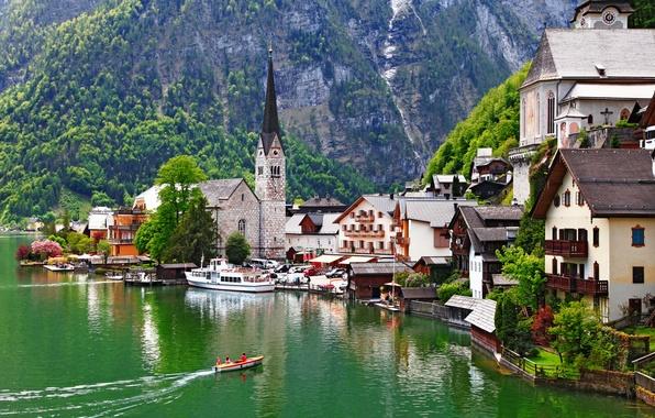 Picture landscape, mountains, nature, lake, building, home, boats, Austria, Alps, Church, mountain, The Salzkammergut, Hallstatt, Austria, …
