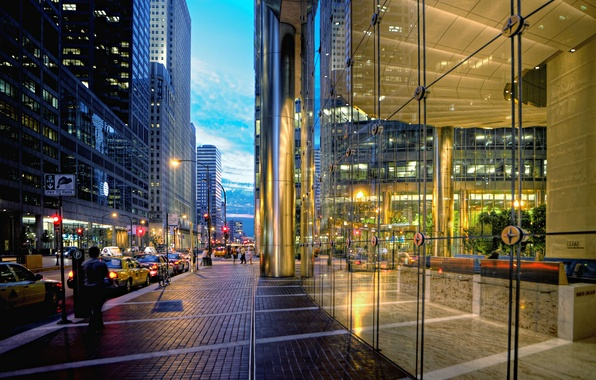 Picture machine, city, street, building, skyscrapers, the evening, taxi, USA, Chicago, Chicago, the sidewalk, stores, showcase, ...