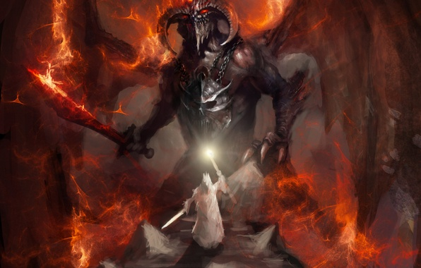 Picture weapons, fiction, fire, flame, sword, the demon, art, lava, horns, chain
