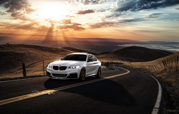 Picture BMW, Car, Front, Sunset, Sunrise, Mountains, Road, Wheels, Before, M235i, Garde, San Jose