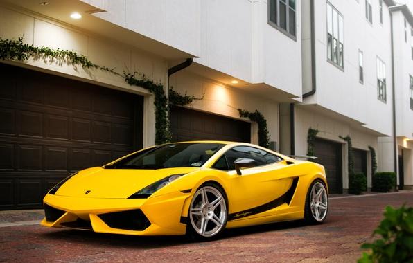 Picture the building, Lamborghini, Superleggera, Gallardo, yellow, Lamborghini, yellow, garages, Lamborghini, Gallardo, Superleggera