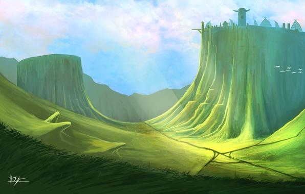 Picture grass, birds, castle, slope, art