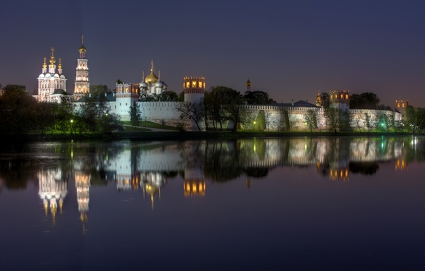 Picture night, lights, reflection, river, wall, Moscow, tower, Russia, the monastery, dome, Novodevichy Convent