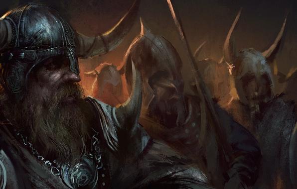 Picture sword, warrior, horns, helmet, beard, shield, Viking, Viking