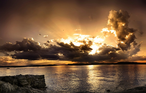 Picture sea, wave, the sky, water, sunset, mountains, stones, the ocean, horizon, panorama, types, beauty