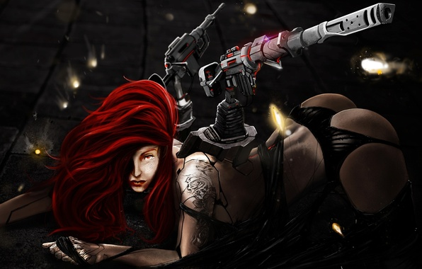 Picture ass, look, girl, pose, weapons, fiction, hair, tattoo, art, freckles, red