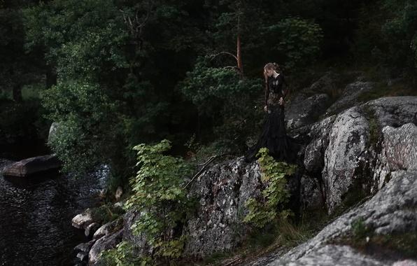 Picture girl, trees, river, stones, Tatiana Mercalova, Olga Kobzar