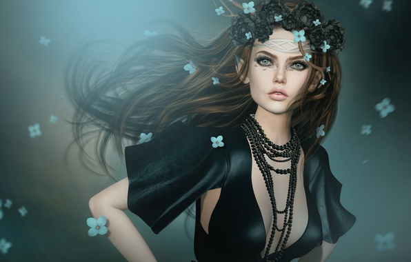 Picture girl, flowers, elf, necklace, wreath