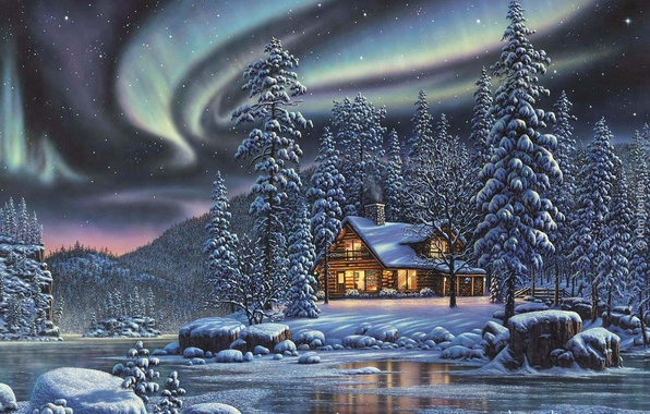 Picture winter, forest, night, Northern lights, house, river
