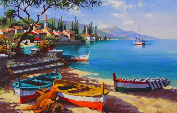 Picture sea, the sky, landscape, mountains, the city, ship, picture, Bay, boats, Anatoly Metlan