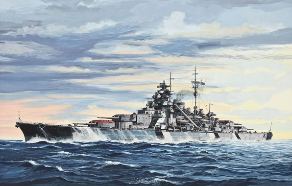 Picture time, ship, art, hunting, Navy, the battle, three, military, battleship, cruiser, after, British, guns, it, ...