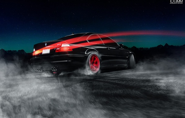 Picture BMW, Red, Car, E46, Road, Wheels, Drifting