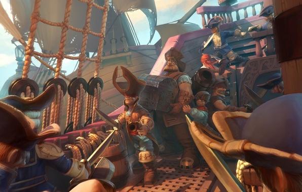 Picture sea, ship, gun, fantasy, art, captain, sails, pirates, fantasy, chest, treasures, Pirates, sea, swords, art, …
