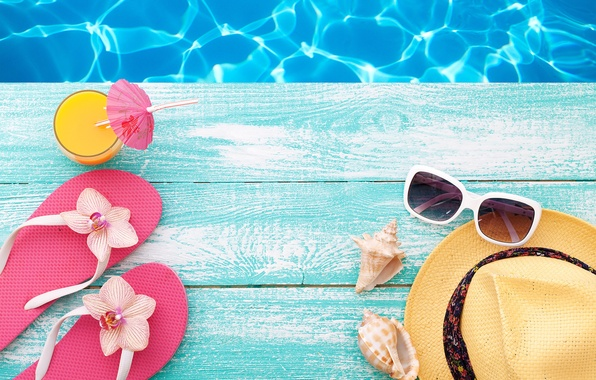 Picture beach, summer, stay, hat, pool, glasses, summer, beach, vacation, slates, vacation, accessories