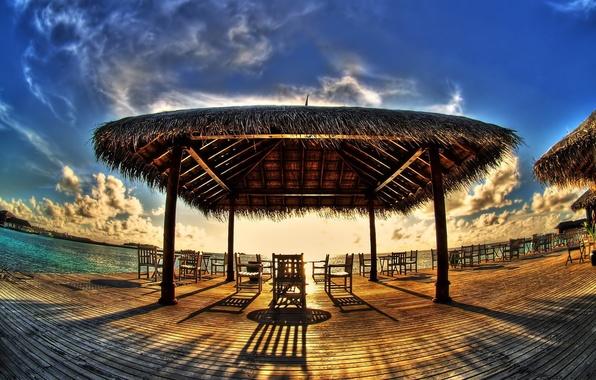 Picture tropics, shore, cafe, canopy