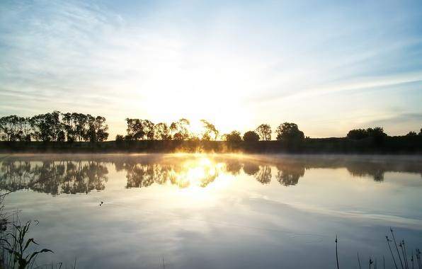 Picture the sun, clouds, rays, landscape, nature, lake, sunrise