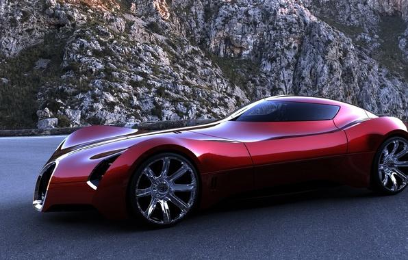Picture road, mountains, red, the concept, sports, bugatti, machine., aerolithe