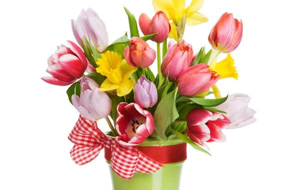 Picture flowers, tape, bouquet, spring, petals, tulips, flowers, tulips, spring, bouquet, ribbon