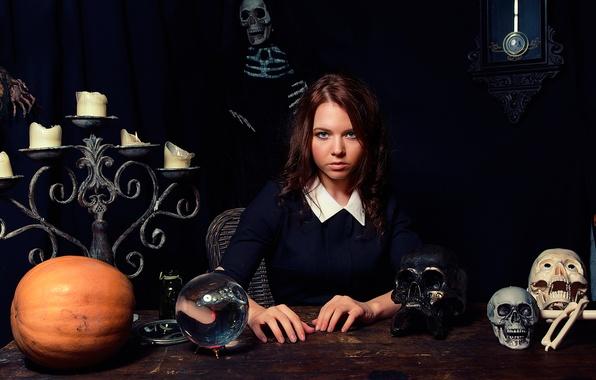 Picture ball, candles, skeleton, skull, the fortune teller, Fortune Teller