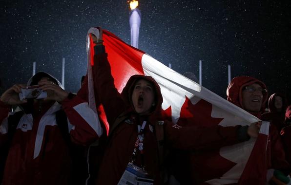 Picture fire, flag, Canada, torch, Canada, fans, fans, flag, canadian, Sochi, fans, 2014, Sochi, Olympic