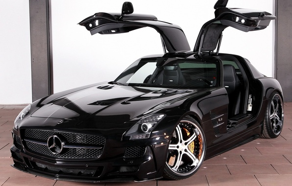 Picture auto, machine, black, drives, Mercedes, cars, mercedes benz, sls, amg, flip, door., ecll