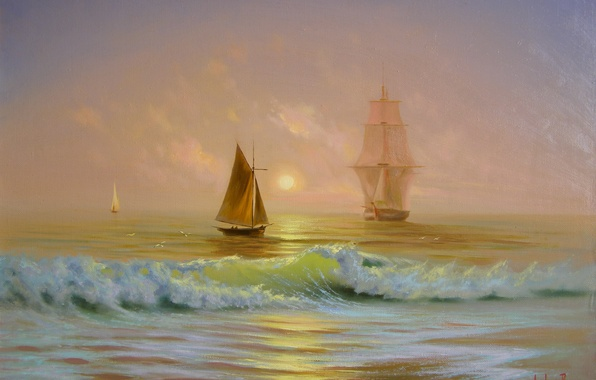 Picture sea, the sun, dawn, wave, ship, beauty, picture, boats, sail, Crimea, painting, Miliukov Alexander