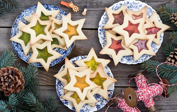 Picture winter, stars, branches, food, spruce, cookies, sweets, plates, stars, tree, thread, Christmas, bumps, dessert, cakes, …