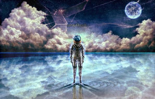 Picture water, stars, clouds, astronaut, art, bouno satoshi