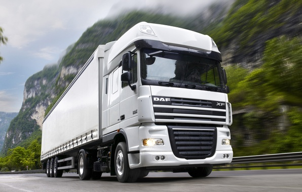 Picture White, Truck, White, Truck, Tractor, The truck, DAF, DAF, Train, ИксЭф105.460, XF105.460