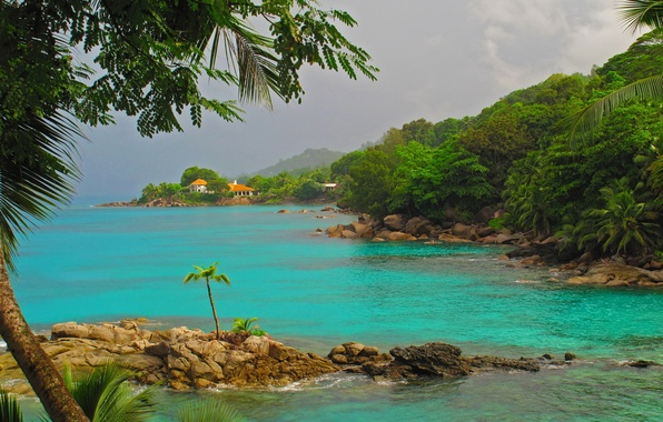 Picture sea, trees, mountains, nature, tropics, stones, palm trees, island, house.