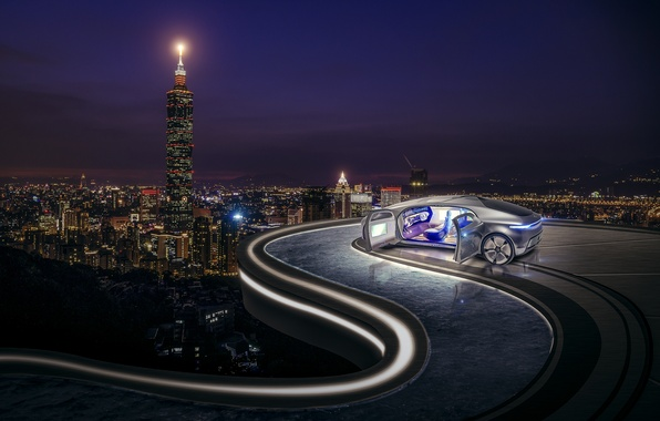 Picture machine, auto, the city, panorama, night city
