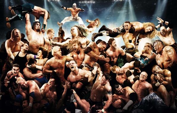 Wallpaper Rey Mysterio, CM Punk, WWE, Kane, EDGE, John Cena